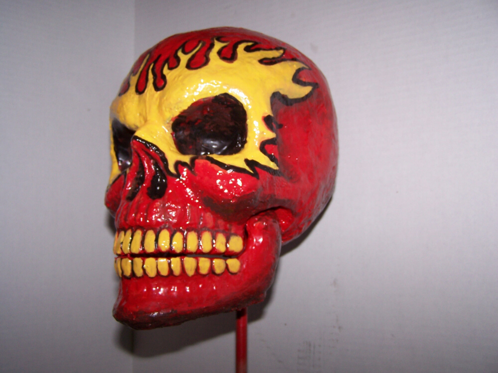 Red Flame Skull Left