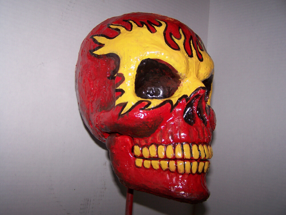 Red Flame Skull Right